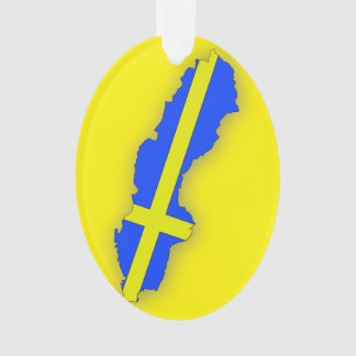 Sweden Map Flag Christmas Ornament