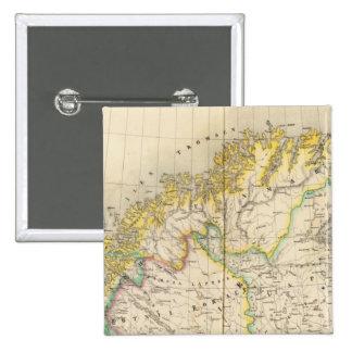 Sweden, Norway Atlas Map 15 Cm Square Badge