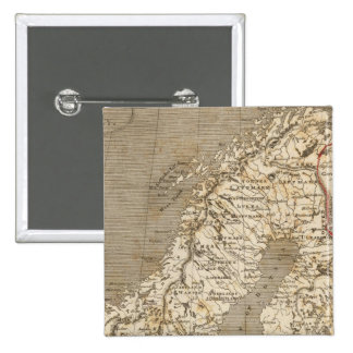 Sweden, Norway Map by Arrowsmith 15 Cm Square Badge