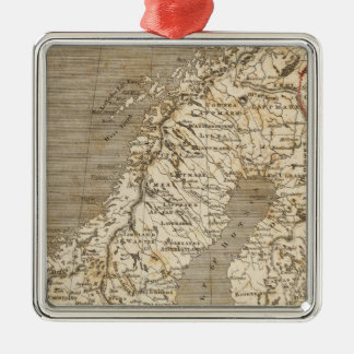 Sweden, Norway Map by Arrowsmith Silver-Colored Square Decoration
