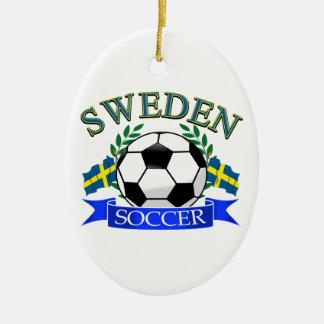Sweden soccer ball designs christmas ornament