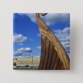 Sweden, Stockholm, harbor, from Gamla Stan, 15 Cm Square Badge