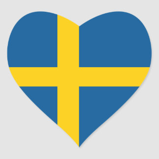 Sweden/Swede/Swedish Heart Flag Heart Sticker