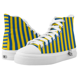 Sweden Ukraine flag stripes lines pattern blue yel High Tops