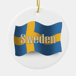 Sweden Waving Flag Christmas Ornament