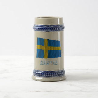 Sweden Waving Flag with Name Beer Steins