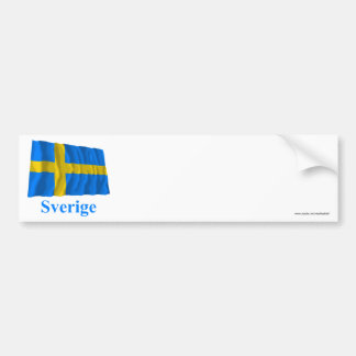 Sweden Waving Flag with Name in Swedish Bumper Sticker