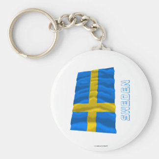 Sweden Waving Flag with Name Key Ring