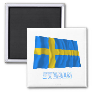 Sweden Waving Flag with Name Square Magnet