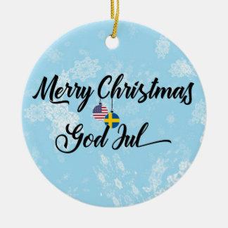 Swedish American Holiday Decoration, God Jul Christmas Ornament