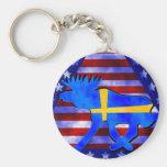 Swedish-American Moose Basic Round Button Key Ring
