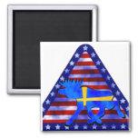 Swedish-American Moose Fridge Magnet
