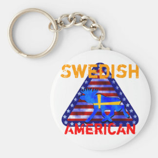 Swedish-American Moose Key Ring