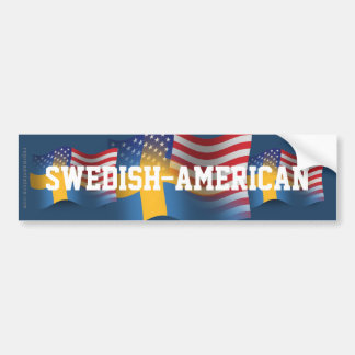 Swedish-American Waving Flag Bumper Sticker