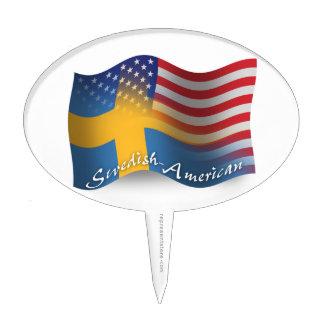 Swedish-American Waving Flag Cake Toppers