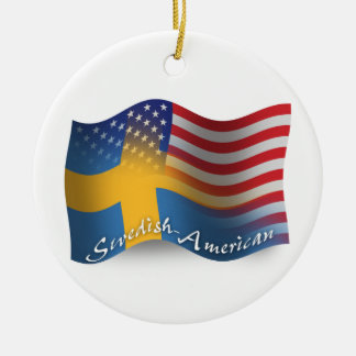 Swedish-American Waving Flag Christmas Ornament