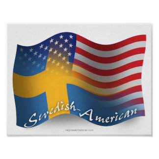 Swedish-American Waving Flag Poster