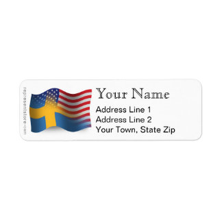 Swedish-American Waving Flag Return Address Label