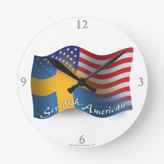 Swedish-American Waving Flag Round Clock