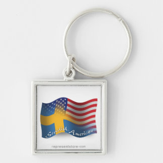 Swedish-American Waving Flag Silver-Colored Square Key Ring
