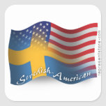 Swedish-American Waving Flag Square Sticker
