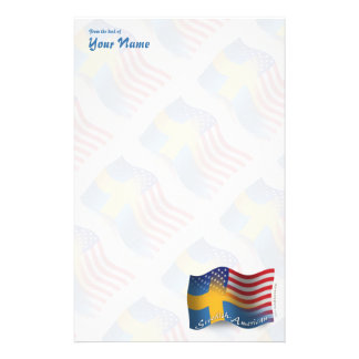 Swedish-American Waving Flag Stationery Design