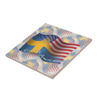 Swedish-American Waving Flag Tile