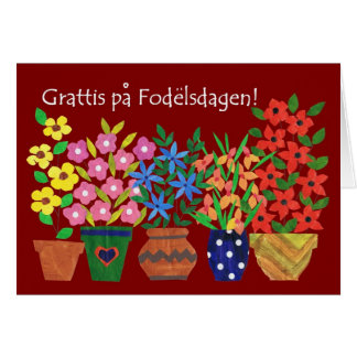 Swedish Birthday Card - Flower Power!