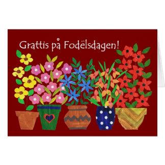 Swedish Birthday Card - Flower Power