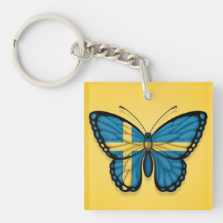 Swedish Butterfly Flag on Yellow Key Ring