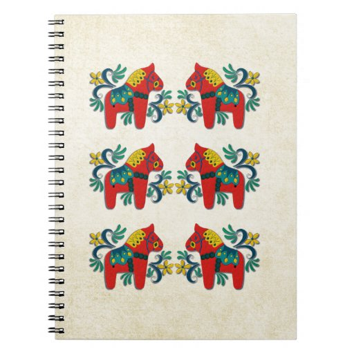 Swedish Christmas Dala Horse Scandinavian Twins Note Books
