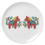 Swedish Christmas Dala Horse Scandinavian Twins Dinner Plates