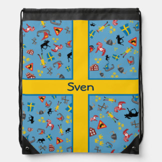 Swedish culture items with flag backpack