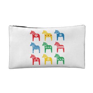 Swedish Dala Horse floral folk pattern Makeup Bags