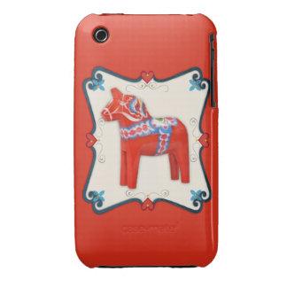 Swedish Dala Horse Folk Art Framed iPhone 3 Cover