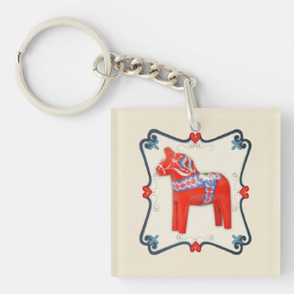 Swedish Dala Horse Folk Art Framed Key Ring
