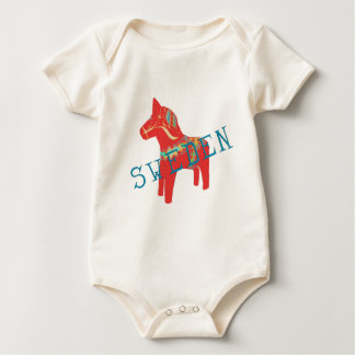 Swedish Dala Horse gifts & greetings Baby Bodysuit