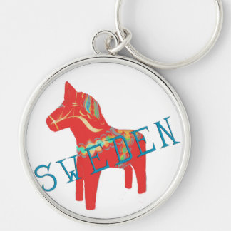 Swedish Dala Horse gifts & greetings Silver-Colored Round Key Ring