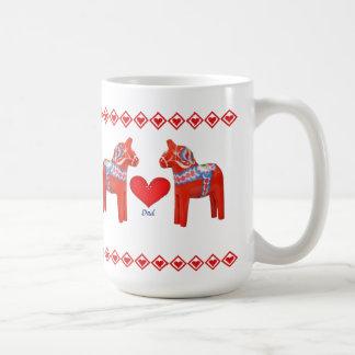 Swedish Dala Horse Hearts Dad Basic White Mug