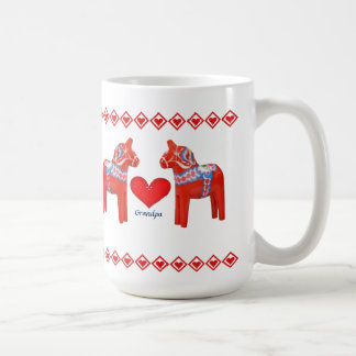 Swedish Dala Horse Hearts Grandpa Coffee Mug