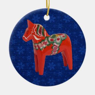 Swedish Dala Horse on Field of Blue Stars Christmas Ornament