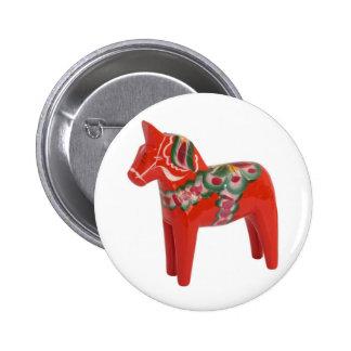 Swedish Dala Horse Scandinavian 6 Cm Round Badge