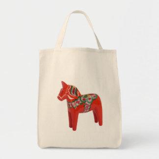 Swedish Dala Horse Scandinavian Grocery Tote Bag