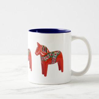 Swedish Dala Horse Scandinavian Two-Tone Mug