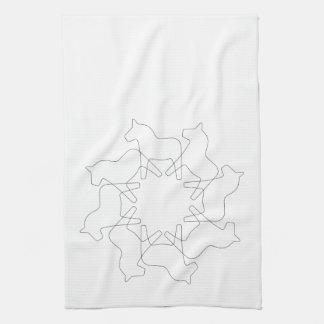 Swedish Dala Horse Snowflake Kitchen Towels