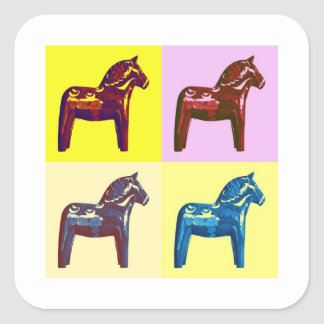 Swedish Dala Horse, Sweden Pop Art, Modern Swede Square Sticker