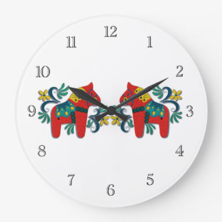 Swedish Dala Horse Twins Large Clock