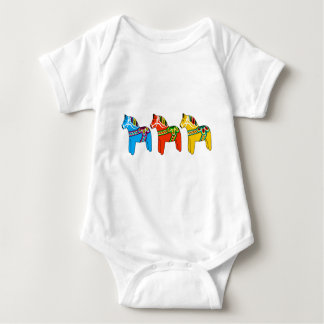 Swedish Dala Horses Baby Bodysuit