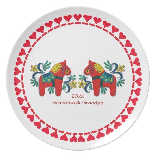 Swedish Dala Horses Personalised Scandinavian Plate