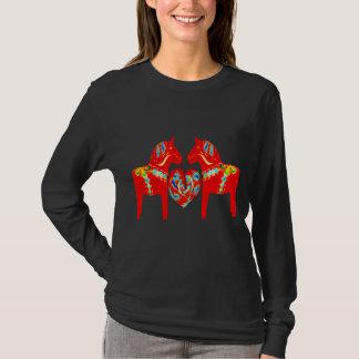 Swedish Dala Horses w Heart T-Shirt